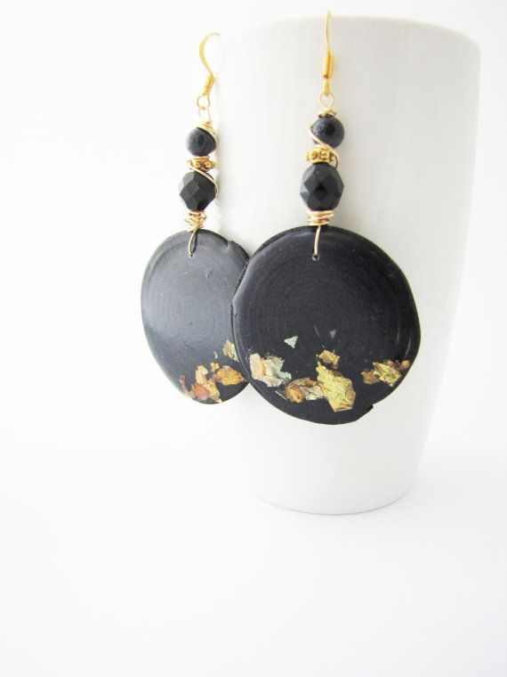 Black round earrings. Polymer clay. Wire wrapped. by Nuann on Etsy, $20.00