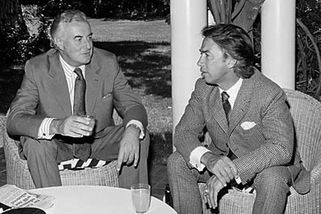 'Don Dunstan: best politician ever' quoted by original pinner. Don Dunstan, former South Australian premier, with former Labor Australian Prime Minister Gough Whitlam • Adelaide's icons