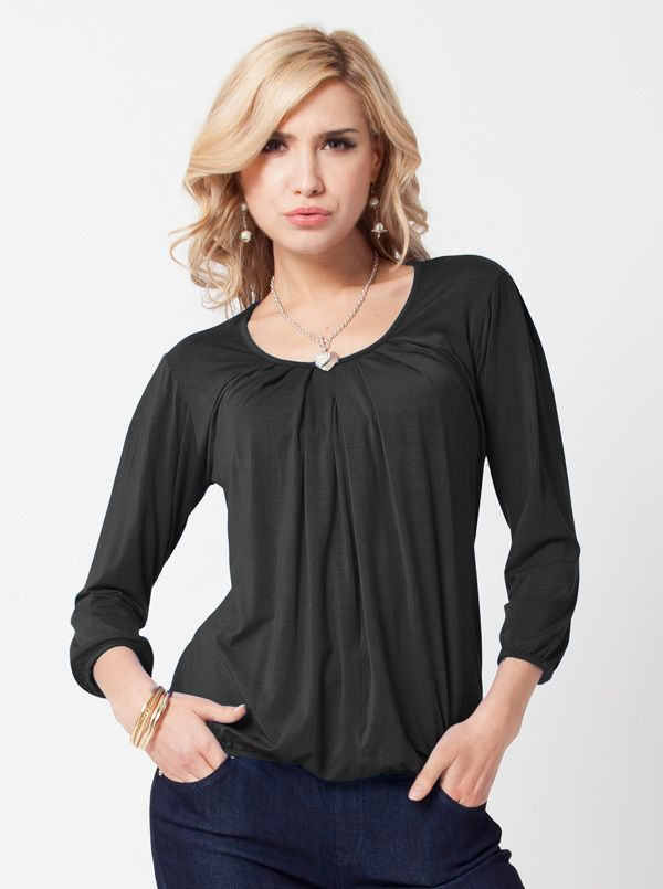 Hidden Zipper Nursing Long Sleeve Top in Black, $44.95, is perfect for in an air-conditioned office. It features a concealed front centre opening for easy feeding.