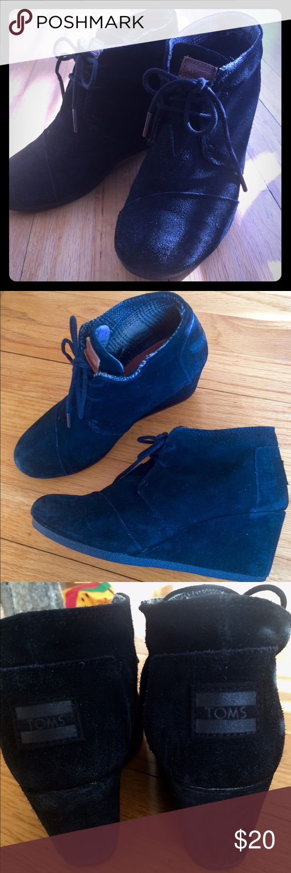 Toms Black Suede Wedge Boots size 7W Still has life in them but they are worn but price reflects the wear. Jet black suede. Comfortable. TOMS Shoes Ankle Boots & Booties