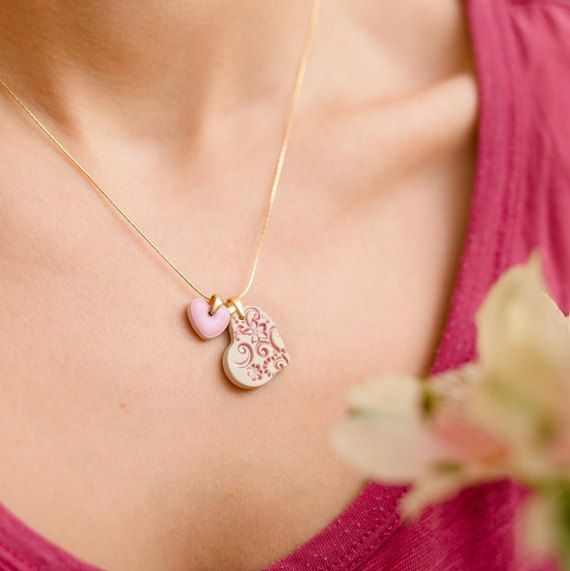 Small heart necklace Pink heart pendant necklace Gold plated
