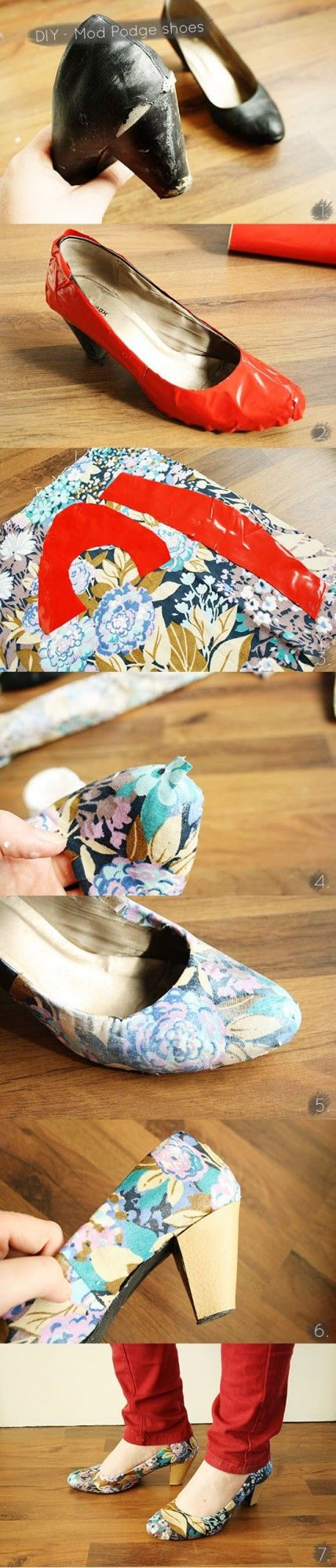 23 Useful DIY Ideas You Must Try - Mod Podge Old Shoes with Fabric