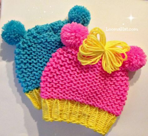 Loom knit baby hat with pom-pom animal ears . Quicker - easier - very cute. FREE Hat Pattern.