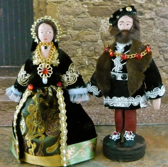 Tudor Art  Dolls Mary Tudor and Charles by UneekDollDesigns
