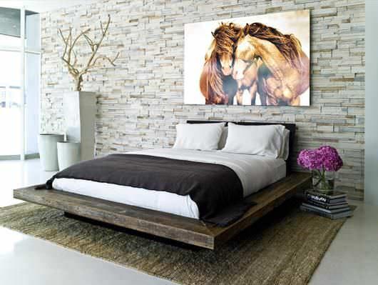 Lit double / contemporain / en bois / de récupération - SANTOS PLATFORM - environment furniture