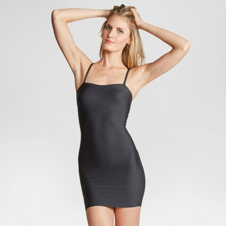 Assets by Spanx Women's Micro Shaping Convertible Strap Slip - Very Black S