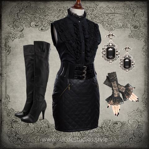 Suede Studios Style: mixes Mainstream with Steampunk to create 'Streampunk.' This montage features: Up-cycled Black Frill Shirt, Black Leather Look Short Skirt, Made to Order Lace Cuffs, Novo Knee High Boots, Victorian Style Earrings. ww.suedestudios.style