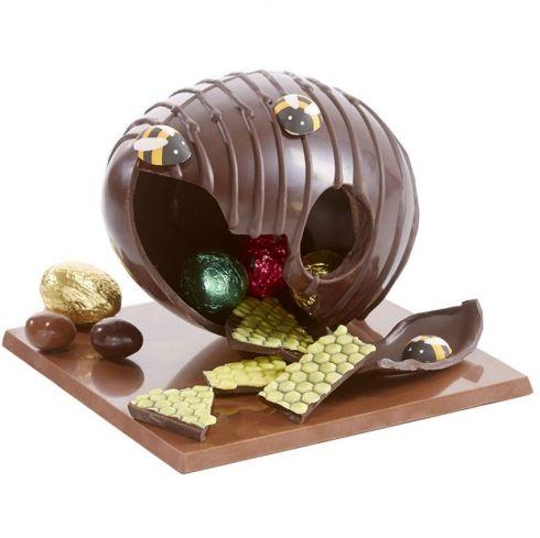 Dark Chocolate Chocolae Easter Egg / Bee Hive L'essaim des abeilles oeuf de Pâques chocolat noir / Collection Les Abeilles : chocolats de Paques originaux