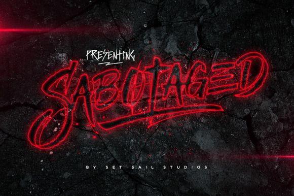 Introduce a little anarchy into your designs with the Sabotaged font set - not for the faint of heart! Hand-scratched with a custom made cola pen, this font set will tear through your text