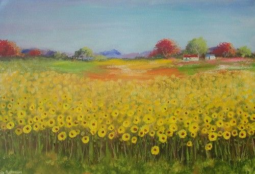 Buy Young Sunflowers (OIL ON STRETCHED CANVAS: 900mm x 600mm x 40mm)for R3,000.00
