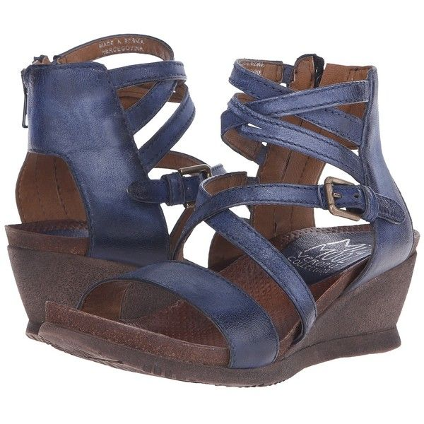 Miz Mooz Shay (Navy) Women's Wedge Shoes (7.385 RUB) ❤ liked on Polyvore featuring shoes, sandals, platform shoes, navy blue wedge shoes, leather platform sandals, platform wedge shoes and navy sandals