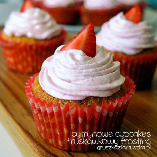 cytrynowe cupcakes i truskawkowy frosting - gruszka z fartuszka