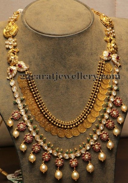 Jewellery Designs: 2 Rows Floral Work Kasumala