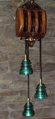 Vintage lamp - made from block & tackle and glass insulators