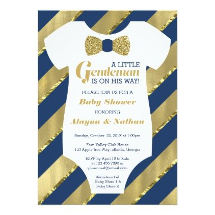 Little Gentleman Baby Shower Invitation Faux Gold Card - glitter gifts personalize gift ideas unique