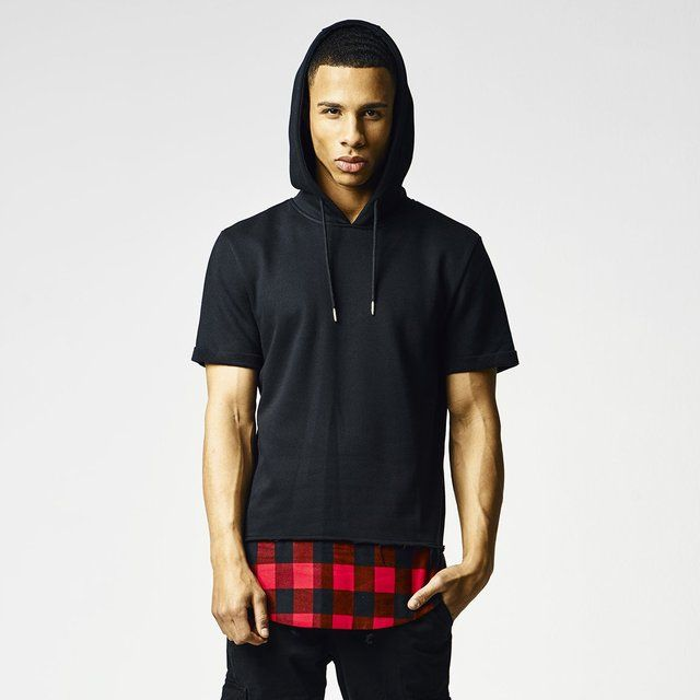 Fancy | Flannel Bottom Short Sleeve Hoodie