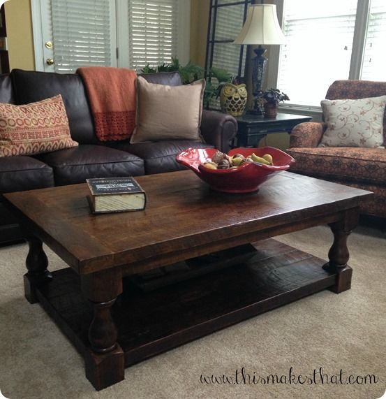 DIY Furniture | How to Make a Pottery Barn Inspired Coffee Table | This one is made from reclaimed wood from an old school house, but you could definitely use new wood as well!