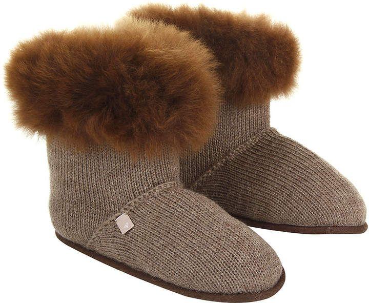 97d25230d Samantha Holmes - Alpaca Fur Edged Slippers - Nutmeg - M/L   Amara ...