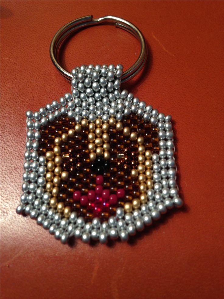 Peyote pug key fob, 11/0 seed beads