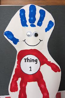 Cute art project for Dr. Suess's birthday. Keep in mind to not paint the middle finger on the body part.