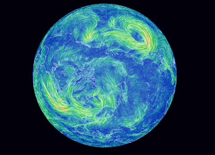 Global wind patterns | Mesmerizing Earth Wind Map Shows Real-Time Wind Conditions Around the ...