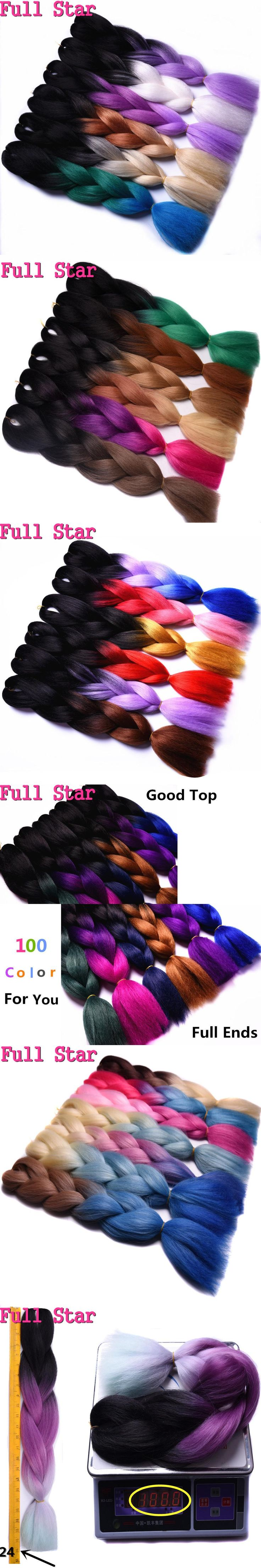Full Star Crochet Ombre hair High Temperature Fiber purple brown hair color blonde Jumbo Braids Synthetic Hair items for Women