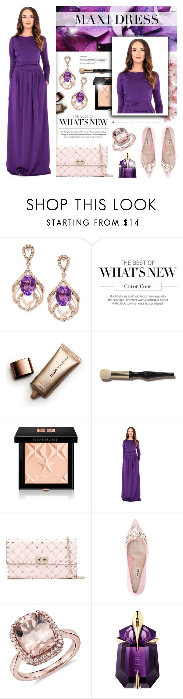 """""""DesirVale 29"""" by anyasdesigns ❤ liked on Polyvore featuring Effy Jewelry, Nude by Nature, Givenchy, Valentino, Miu Miu, Thierry Mugler and plus size dresses"""