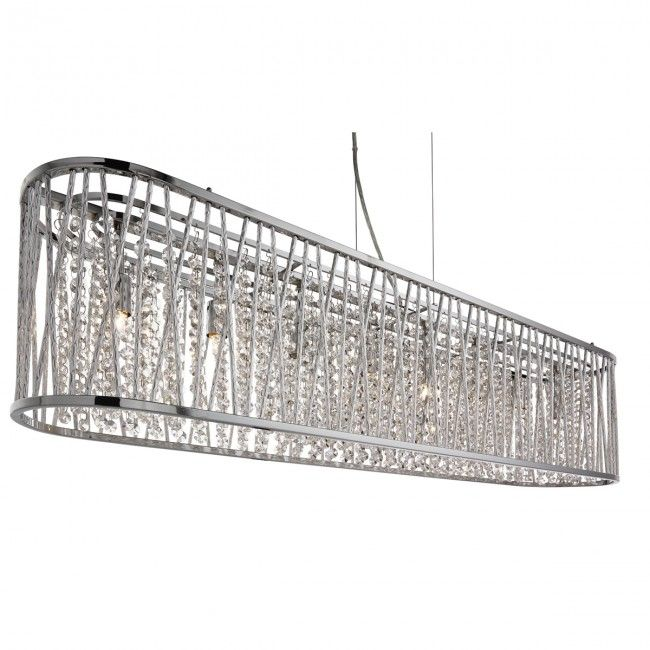 Elise Chrome 8 Light Fitting With Crystal Button Drops