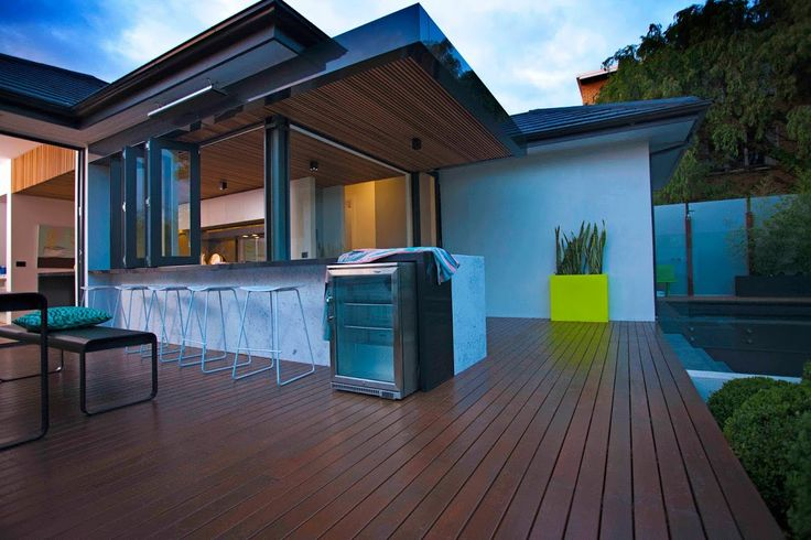 This decked area flows well between the house and garden.