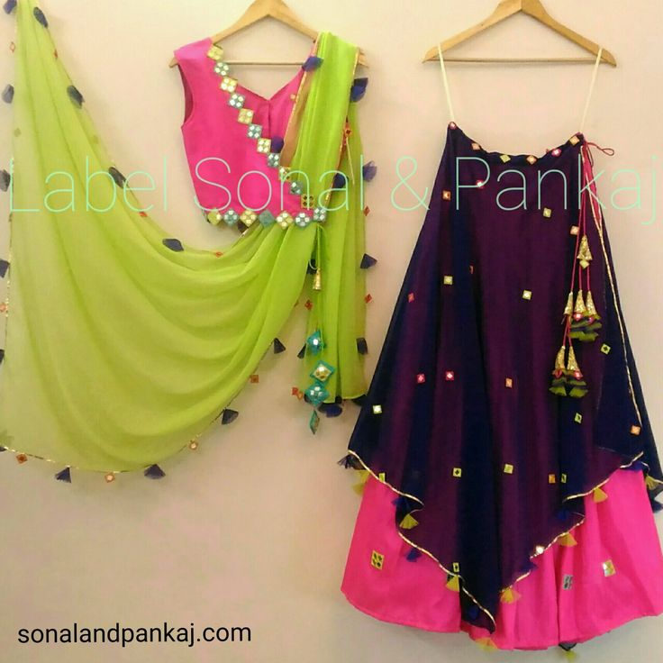 4 piece Lehenga Shop here https://sonalandpankaj.com/collections/lehngas/products/4-piece-pink-cobalt-blue-and-parrot-green-lehenga Whatsapp +919669166763