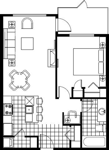 Typical Hotel Room Floor Plan   ... at our Rocky Mountain Hotel   Copperstone Hotel in the Rocky Mountains