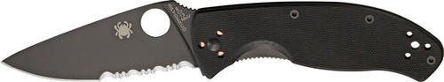 Spyderco SSC122GBBKPS Knives Folder Knife Black Finish G-10 Handle Tenacious Lin. Spyderco Knives - Part Serrated Tenacious Linerlock Knife with Black G-10 Laminate Handles. Model: SC122GBBKPS. 4 3/8' closed. 3 3/8' black finish 8Cr13MoV stainless partially serrated blade. Black G-10 laminate handles. Lanyard hole. Reversible black finish stainless pocket clip.