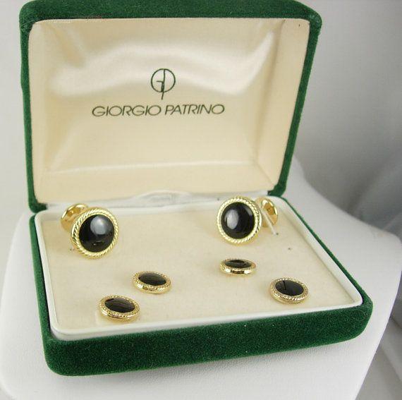 Wedding Cufflink Set Vintage Giorgio Patrino Black Onyx Studs Gold Tuxedo Wedding Business