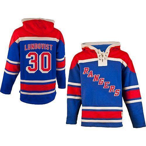 CCM New York Rangers #30 Henrik Lundqvist Light Blue Hoodie
