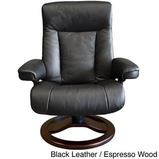 Fjords chair Scandic - Black Leather & Espresso Wood
