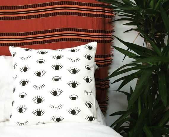 Black and white cushion cover Eye print pillow case Modern