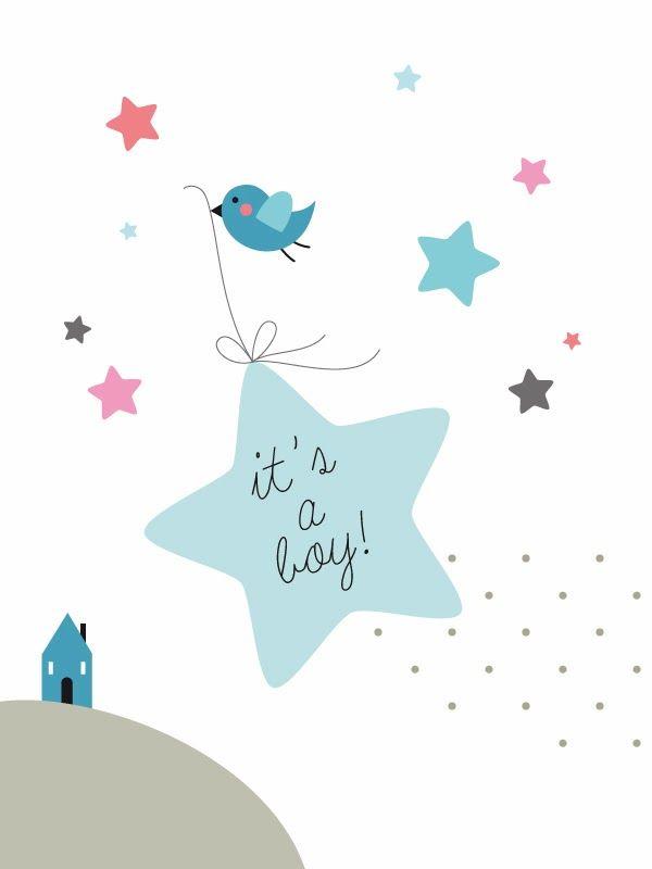 giochi di carta: Illustration for baby announcement ● illustrazione per annuncio nascita