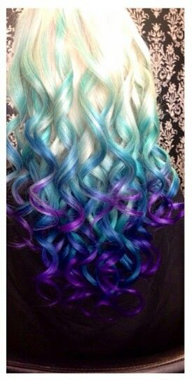 Blonde blue purple ombre dip dyed hair