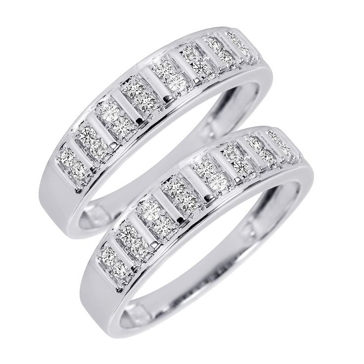 23 carat tw round cut mens same sex wedding band set 10k white gold - Same Sex Wedding Rings
