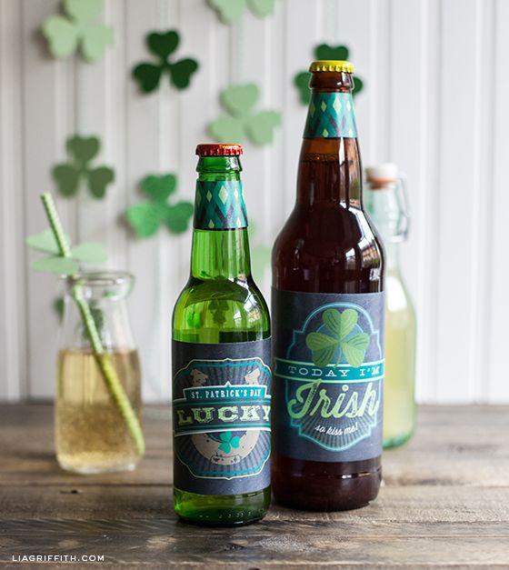 Printable St. Patrick's Day Ginger Soda or Irish Beer Bottle Labels