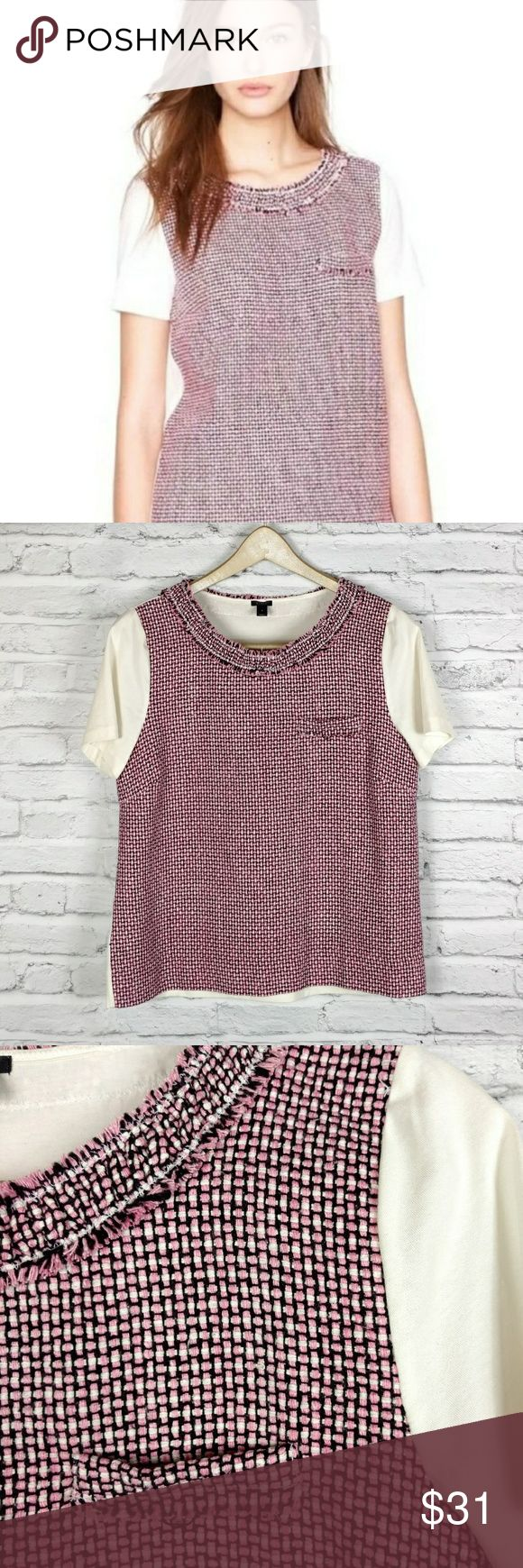 """J Crew pink tweed front t shirt So classic with a twist! Cream sleeves and back. EUC. Chest 18""""/ Length 22"""" J. Crew Tops"""