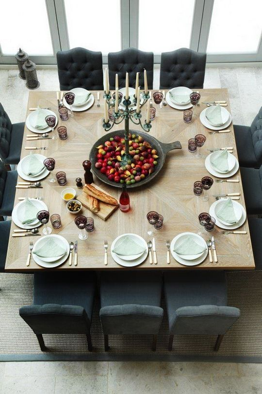 Beautiful large square dining room table & Tablescape.