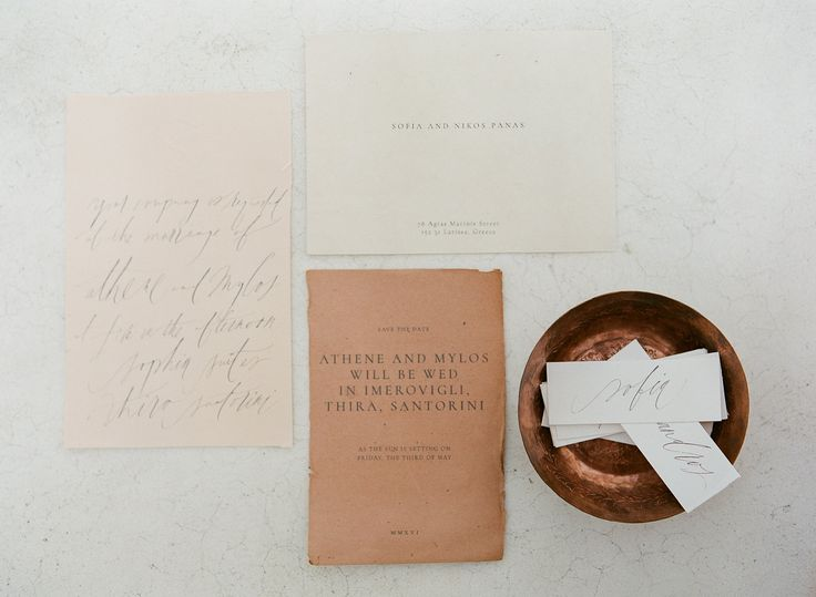 Earthy and rustic style stationary | Luxury Santorini Weddings