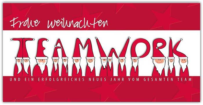 Geschäftliche Weihnachtskarten Text.Geschäftliche Weihnachtskarte Din Lang In Rot Teamwork Mit Gruß