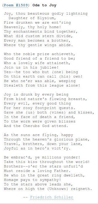 Ode to Joy by Friedrich Von Schiller. http://www.annabelchaffer.com/