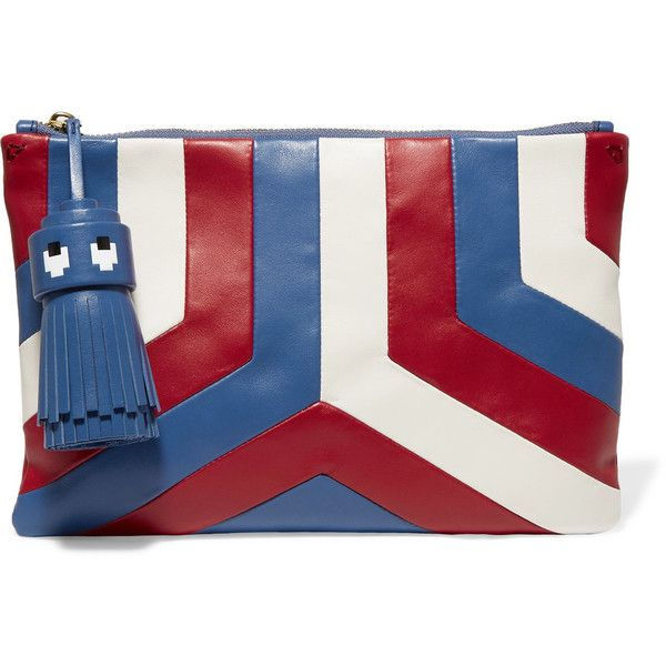 Anya Hindmarch Georgiana tasseled leather clutch (5.389.285 IDR) ❤ liked on Polyvore featuring bags, handbags, clutches, blue, real leather purses, tassel clutches, blue handbags, blue clutches and zipper handbags