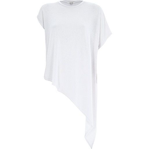 Off white asymmetric short sleeve t-shirt