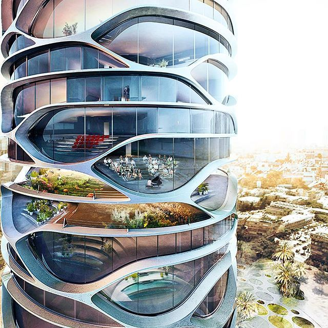 This #curvy new #skyscraper envisioned for Tel Aviv is a lush oasis that combines modern, sustainable living with plenty of nature. The skyscraper is filled with #Mediterranean and #DeadSea flora and features an automated car park, farms, electric charging stations and public #gardens. The mixed-use Gran Mediterraneo tower, designed by French architect #DavidTajchman, is wrapped in mirrored glass and white concrete conceived using the latest construction and digital technologies…