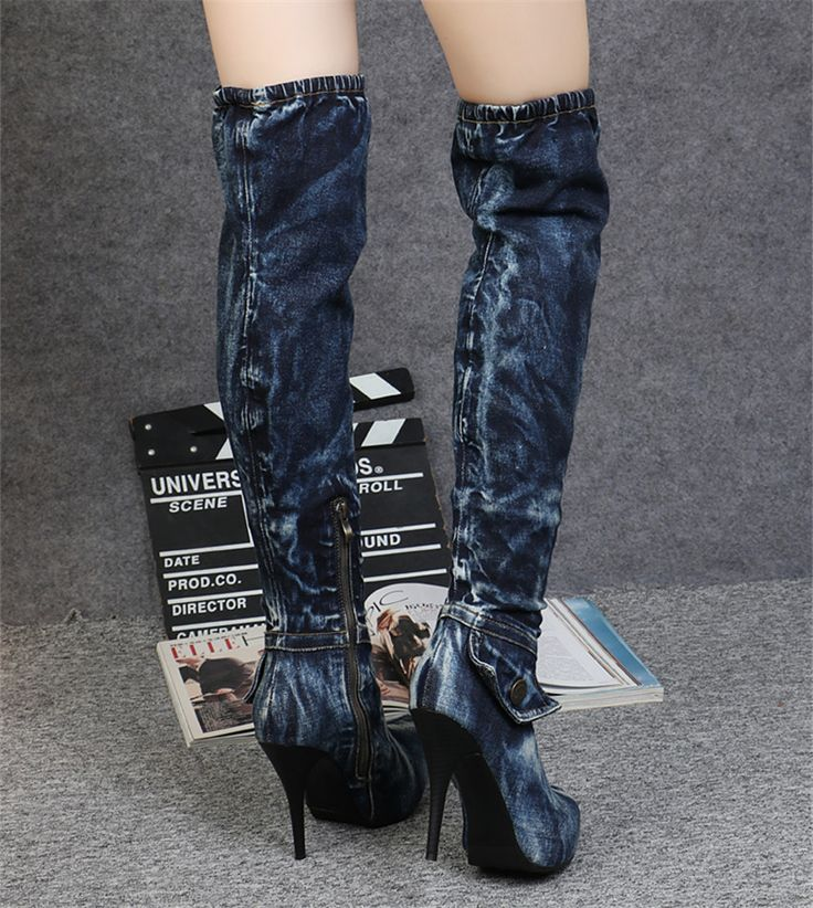 Botas sobre la rodilla de tela azul adornado con encaje de encaje estilo vaquero zSjI1WGoXS