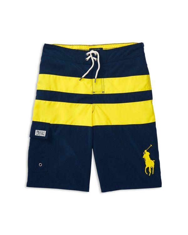 Ralph Lauren Childrenswear Boys' Big Pony Wide Stripe Board Shorts - Sizes S-xl